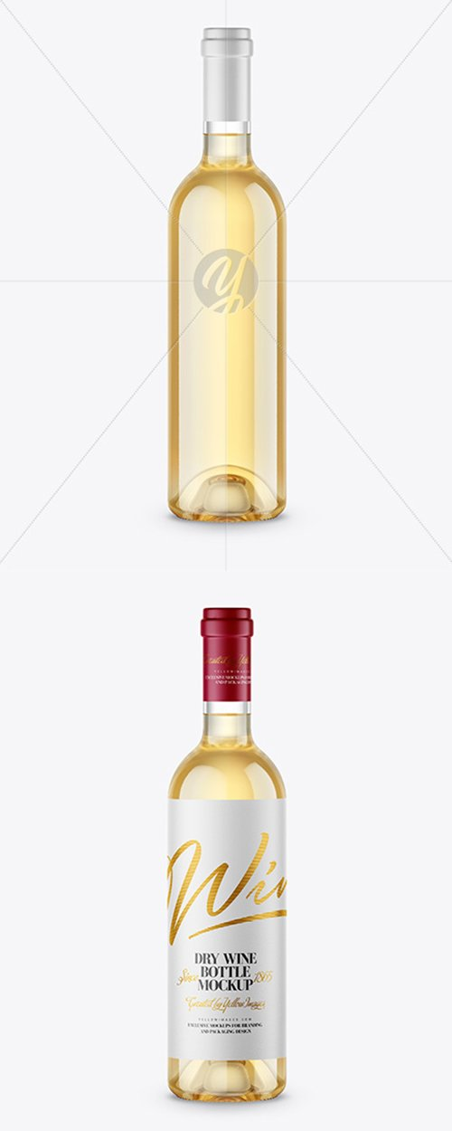 Clear Glass White Wine Bottle Mockup 43134 TIF
