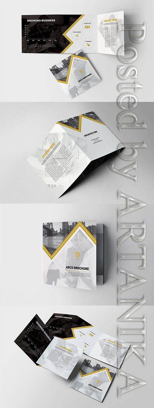Arco Square Trifold Brochure Indesign Template