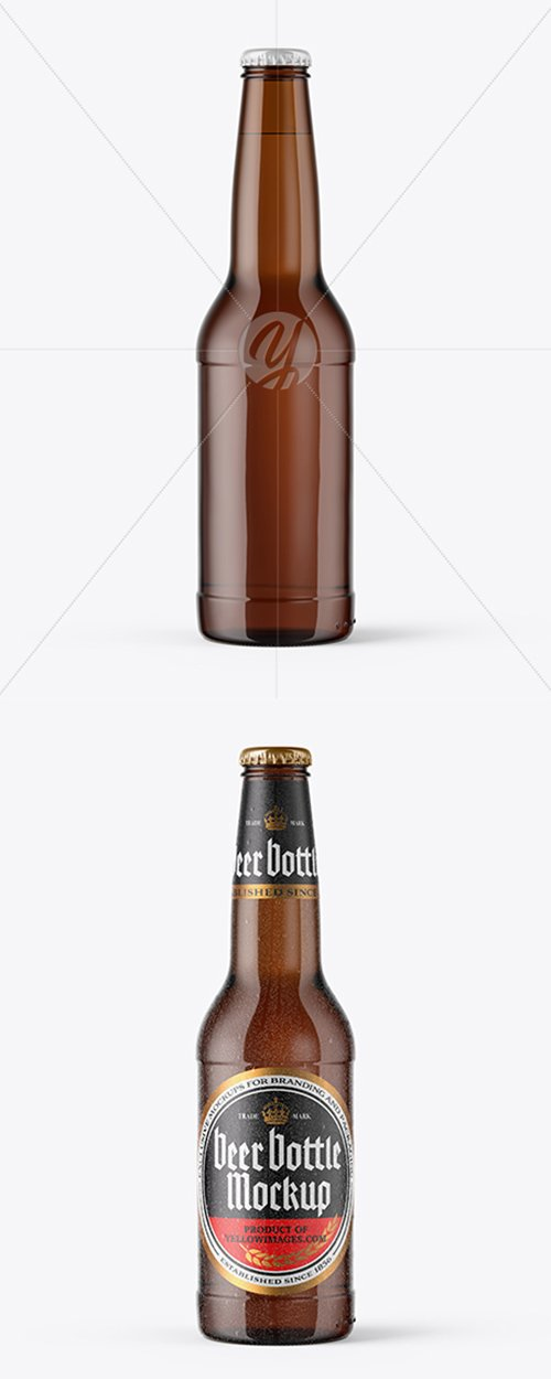 Amber Beer Bottle With Condensation Mockup 44134 TIF