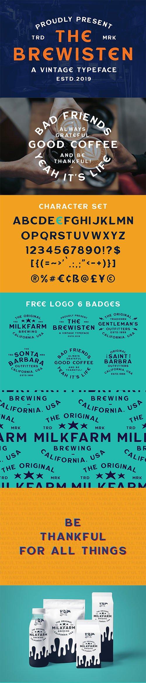 Brewisten Vintage Font + Extras Badges Logo