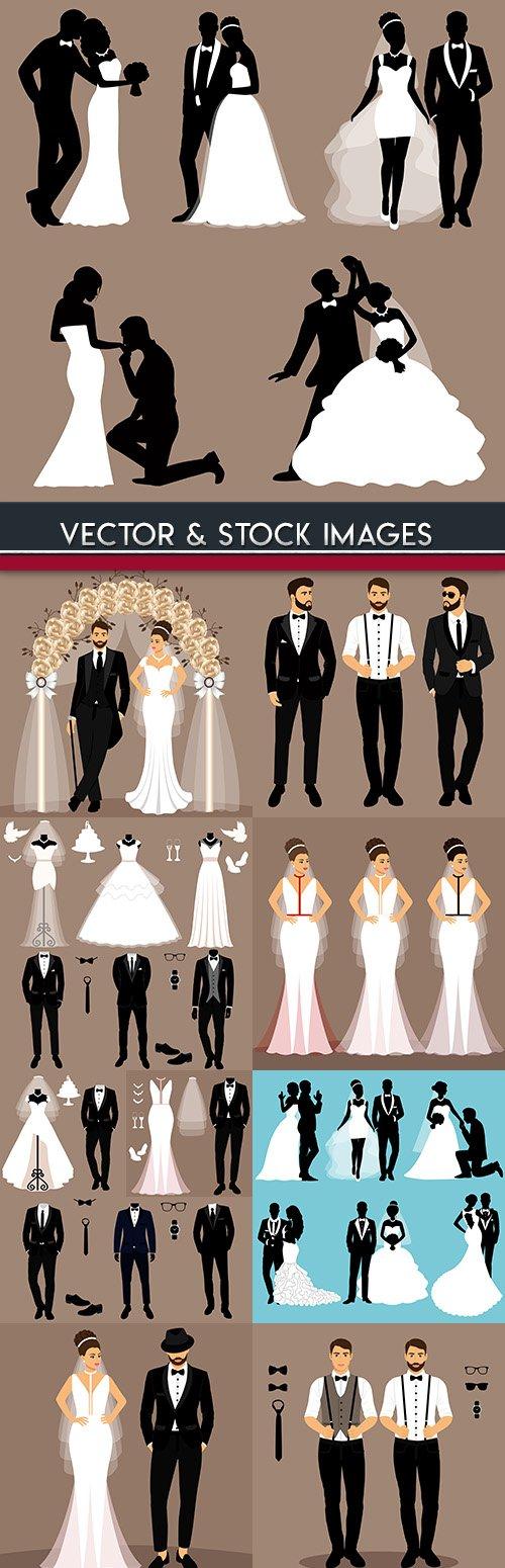 Groom and bride elegant clothes for wedding celebration
