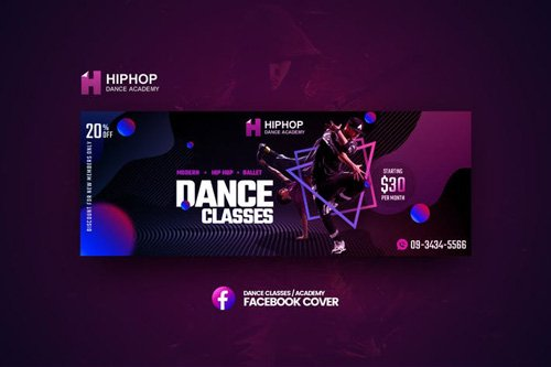 Hiphop - Dance Classes Facebook Cover Template