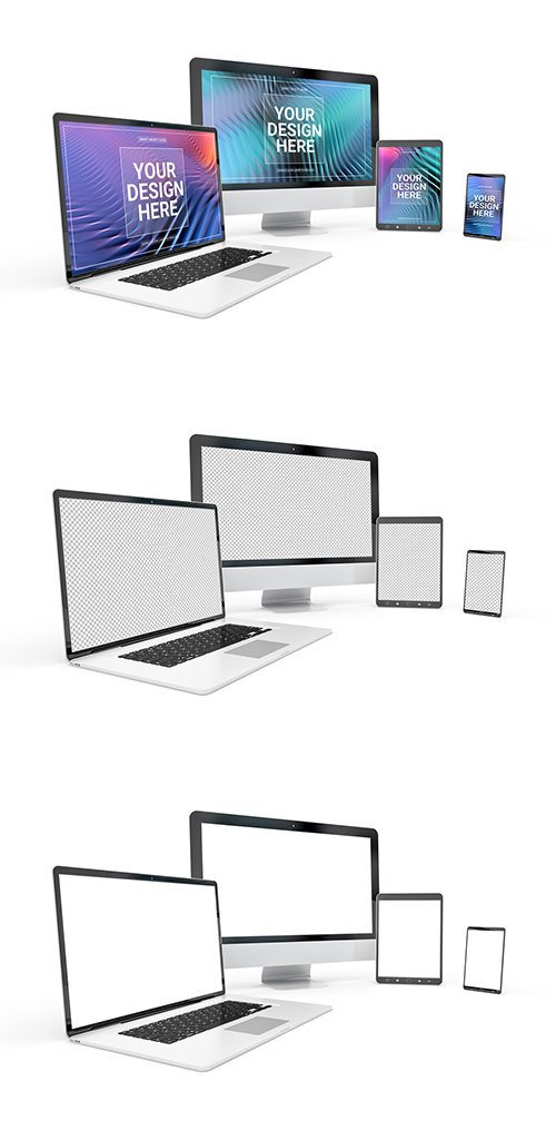 PSDT Computer, Laptop, Phone, and Tablet on White Mockup 259187100