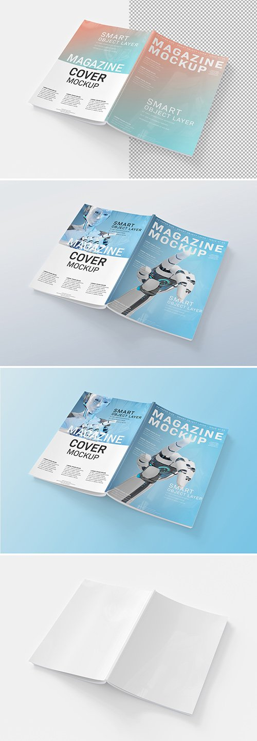 PSDT Open Magazine Cover Mockup Isolated 259240194