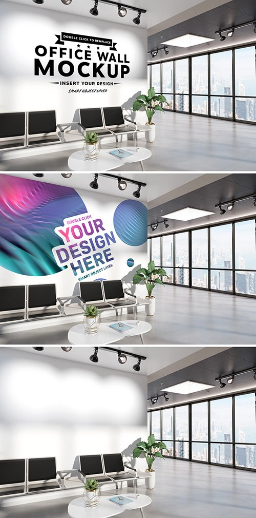 PSDT Blank Wall in Waiting Room Office Mockup 259240172