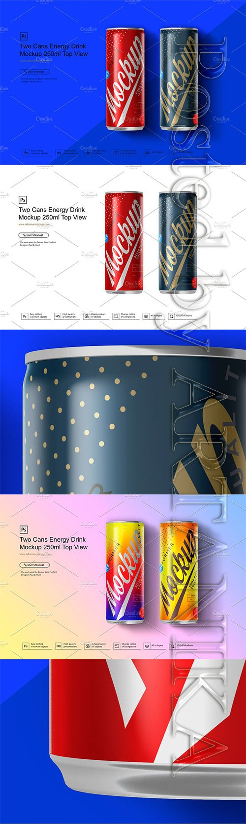Two Cans Energy Drink Mockup 250ml 3580775