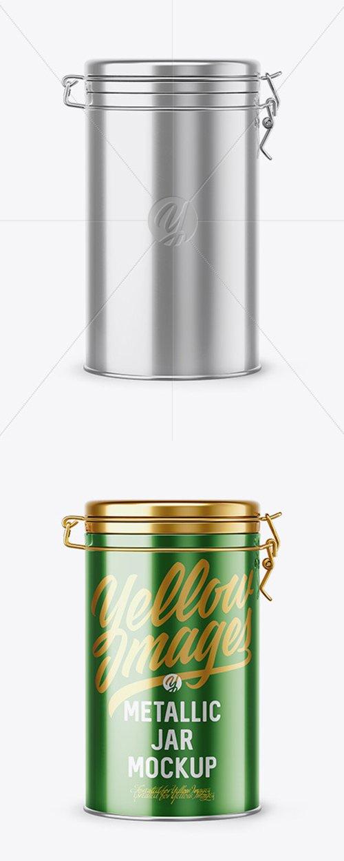 Metallic Jar With Locking Lid Mockup 44146 TIF