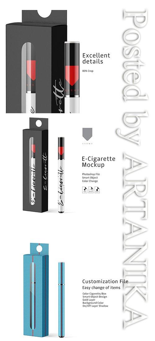 E-Cigarette and Box Mockup 3608474