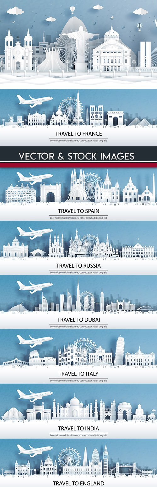 City landscape and travel worldwide paper design