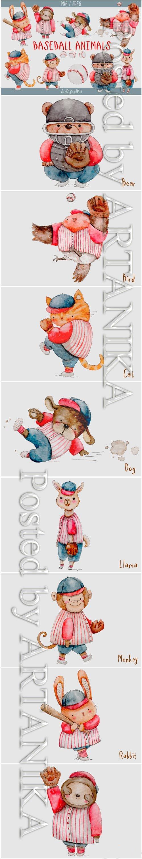 Watercolor Baseball Animals PNG SET 1475838