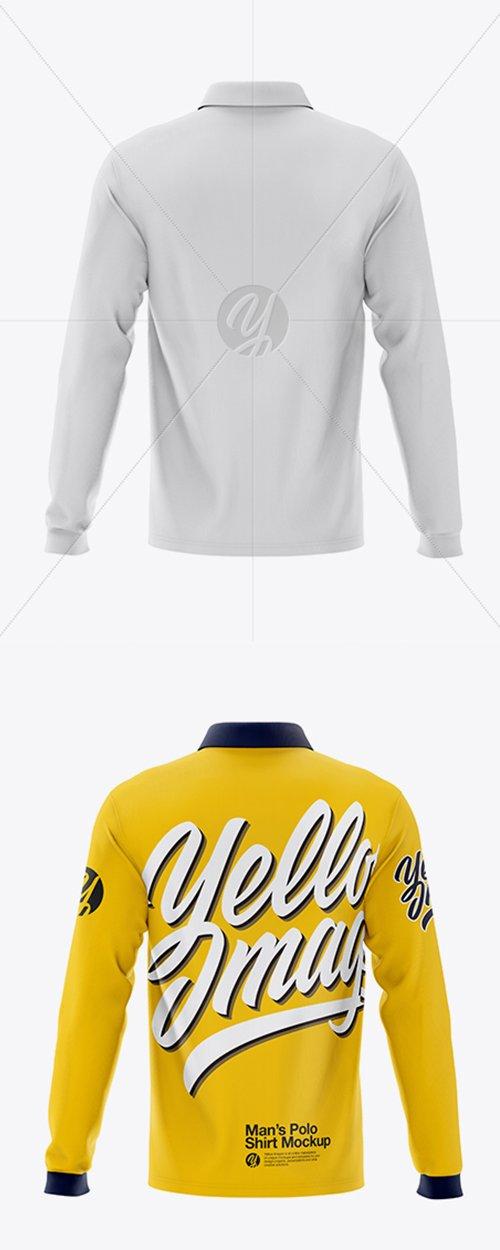 Mens Long Sleeve Polo Shirt Mockup - Back View 42543 TIF