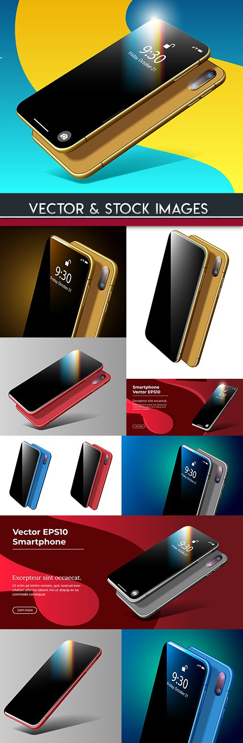 Smartphone mobile and online technology realistic model