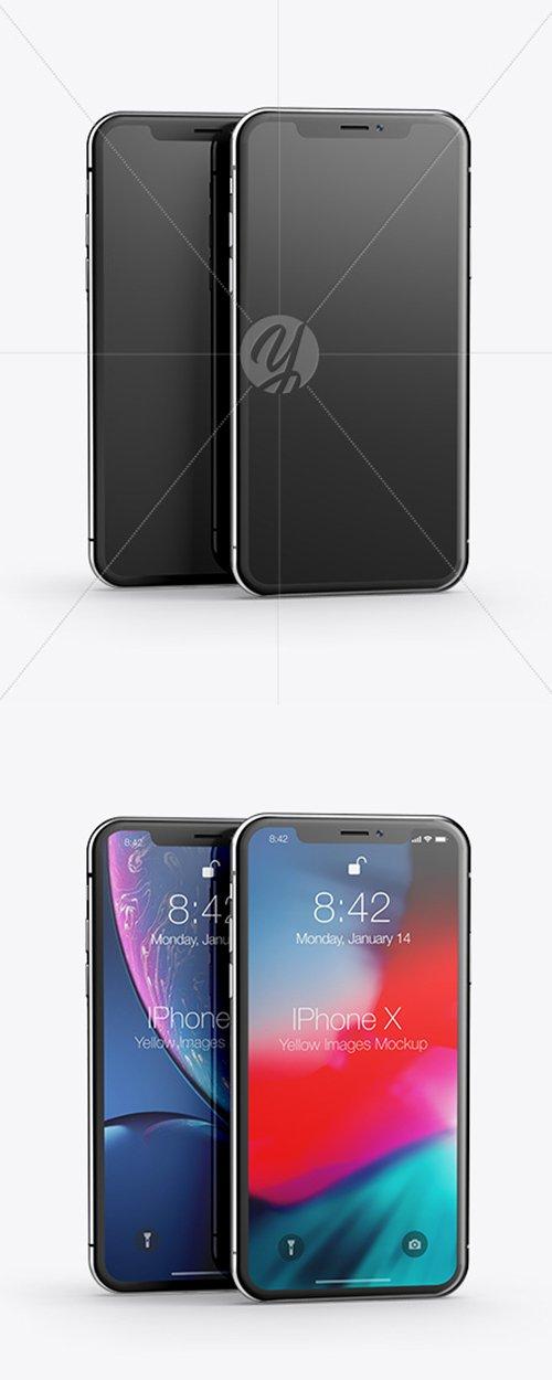 Two Apple iPhones X Mockup 43125 TIF