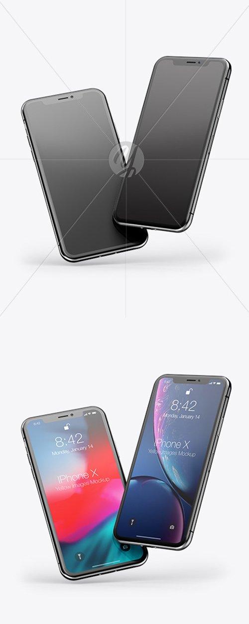 Two Apple iPhones X Mockup 43020 TIF