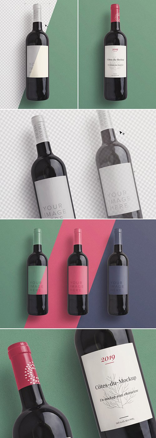 PSDT Wine Bottle Mockup 256522770