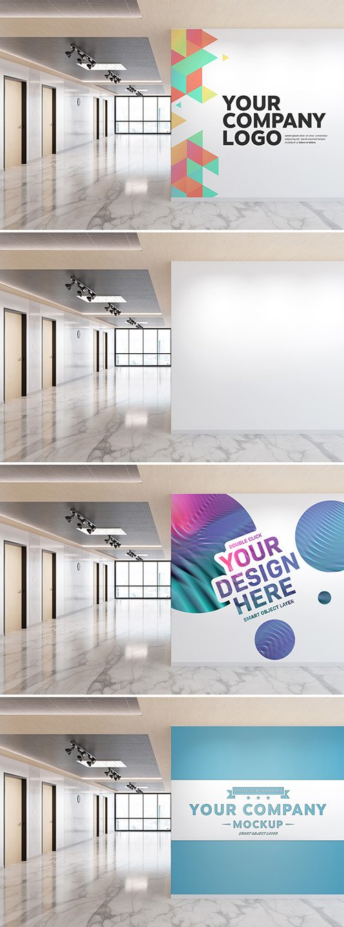 PSDT Blank Wall in Bright Wood and Marble Office Mockup 262107538
