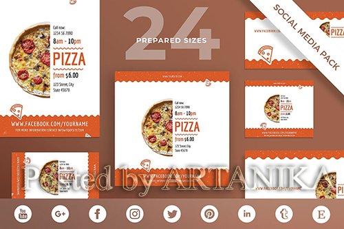 Pizza Restaurant Social Media Pack Template