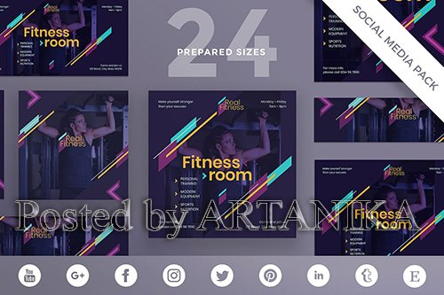 Fitness Gym Social Media Pack Template