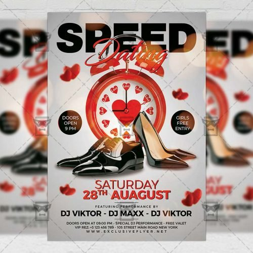 PSD Club A5 Template - Speed Dating Party
