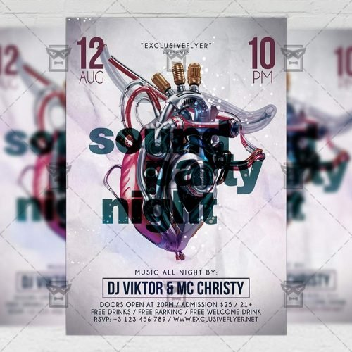 PSD Club A5 Template - Sound Party Night