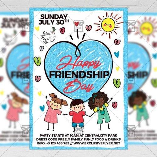 PSD Club A5 Template - Happy Friendship Day
