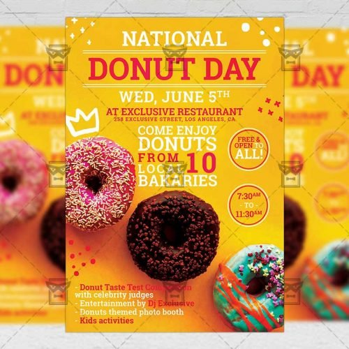 PSD Food A5 Template - National Donut Day