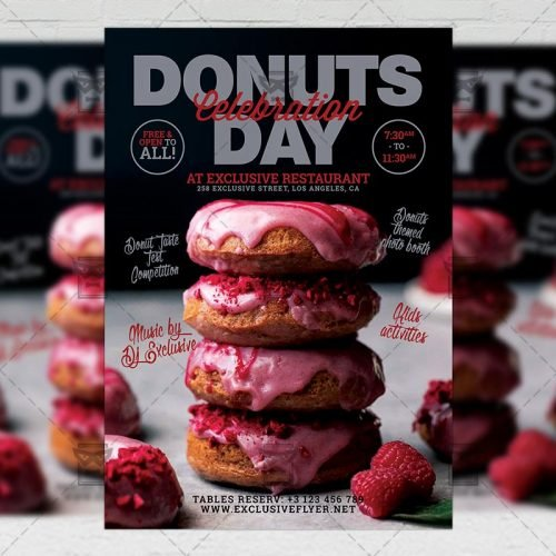 PSD Food A5 Template - Donuts Day Celebration
