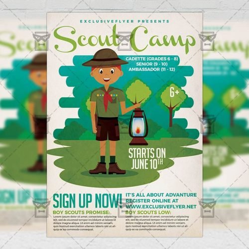 PSD Summer A5 Template - Scout Camp
