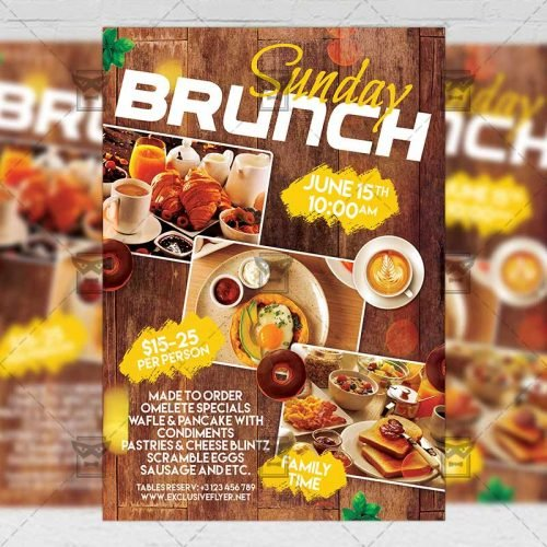 PSD Food A5 Template - Sunday Brunch Event