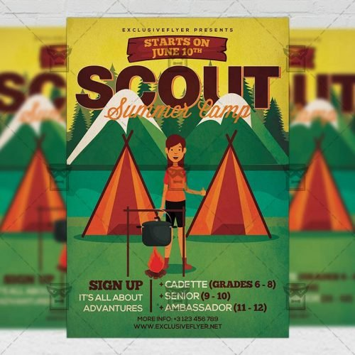 PSD Summer A5 Template - Scout Summer Camp