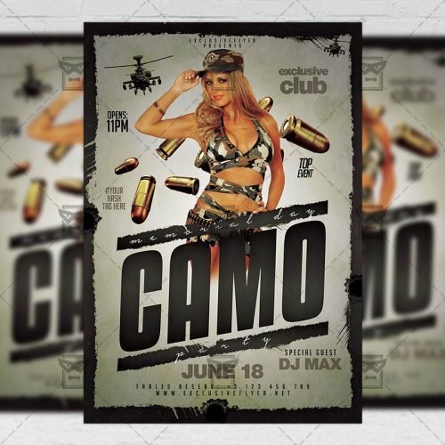 PSD Club A5 Template - Memorial Day Camo Party