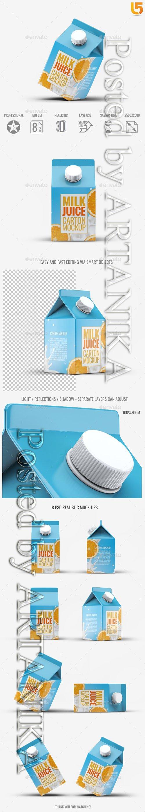 Milk or Juice Carton Mock-Up v4 21791464