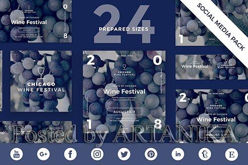 Wine Festival Social Media Pack Template