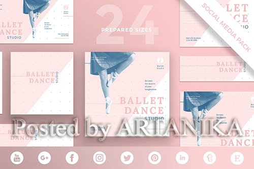 Dance Studio Social Media Pack Template