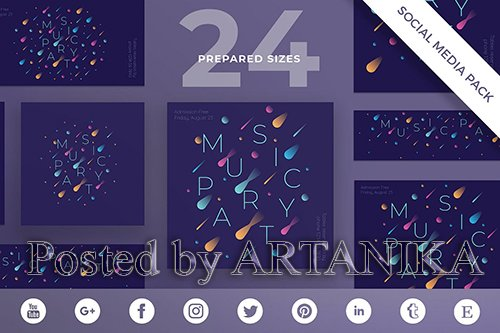 Music Party Social Media Pack Template