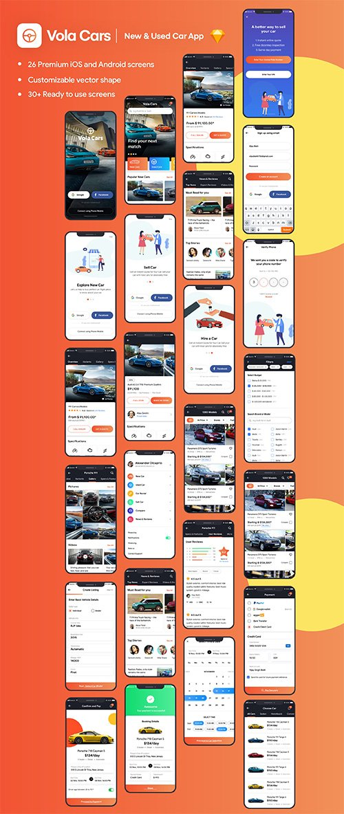 Vola Cars Premium iOS App UI Kit Sketch