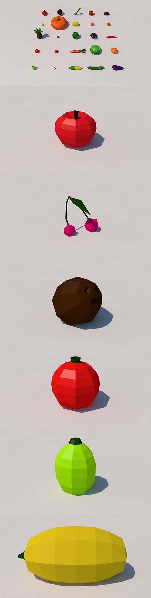 Fruit and vegetables low poly pack Low-poly 3D model