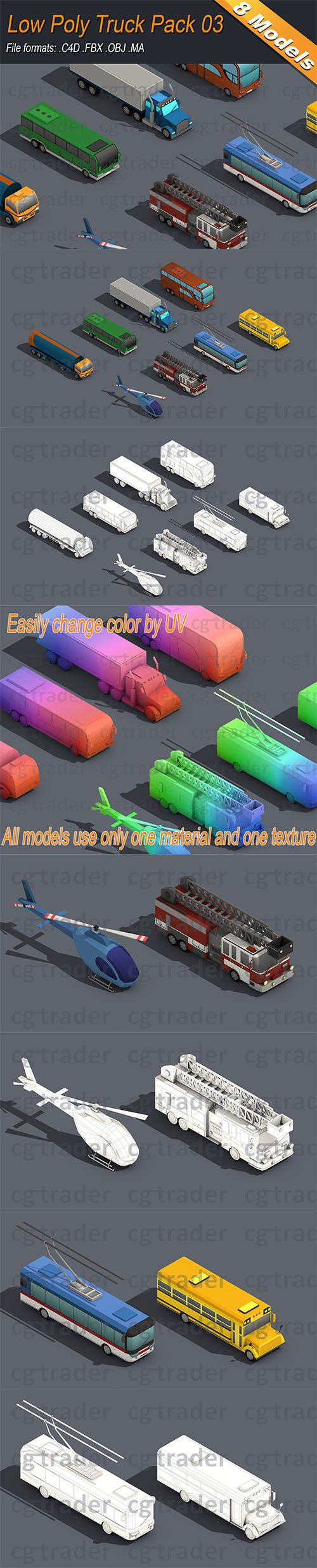 Low Poly Truck Pack 03 Isometric Low-poly 3D model