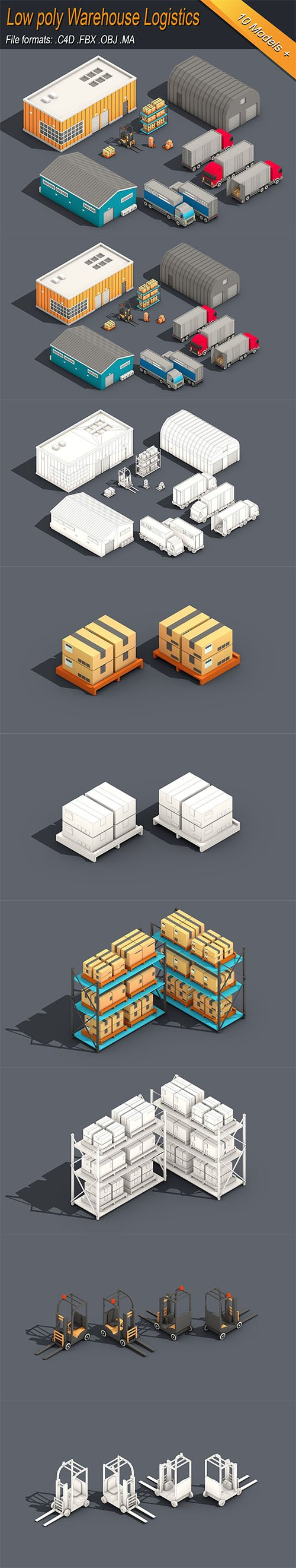 Low Poly Warehouse Logistics Isometric Low-poly 3D model