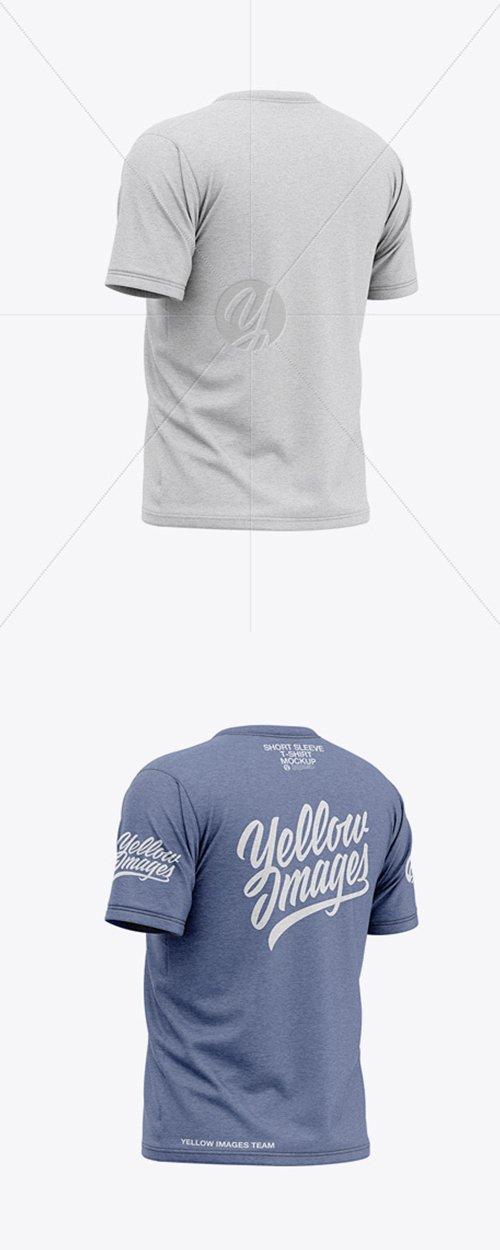 Mens Heather Short Sleeve T-Shirt Mockup - Back Half Side View 36775 TIF