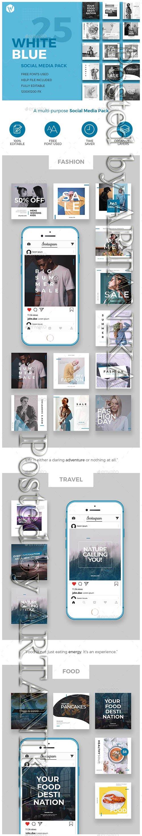 25 Instagram Blue & White Banners - Multi-purpose Social Media Pack 23516563