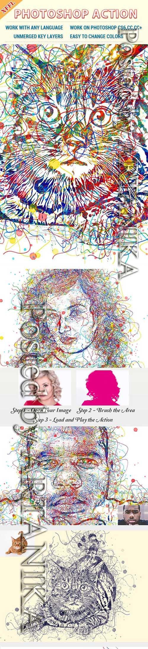 Watercolor Line Photoshop Action 23492662