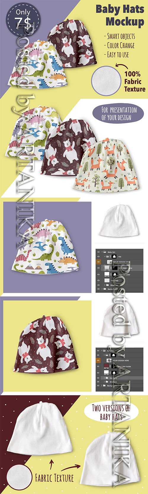 Baby Hats Mockup 3648218
