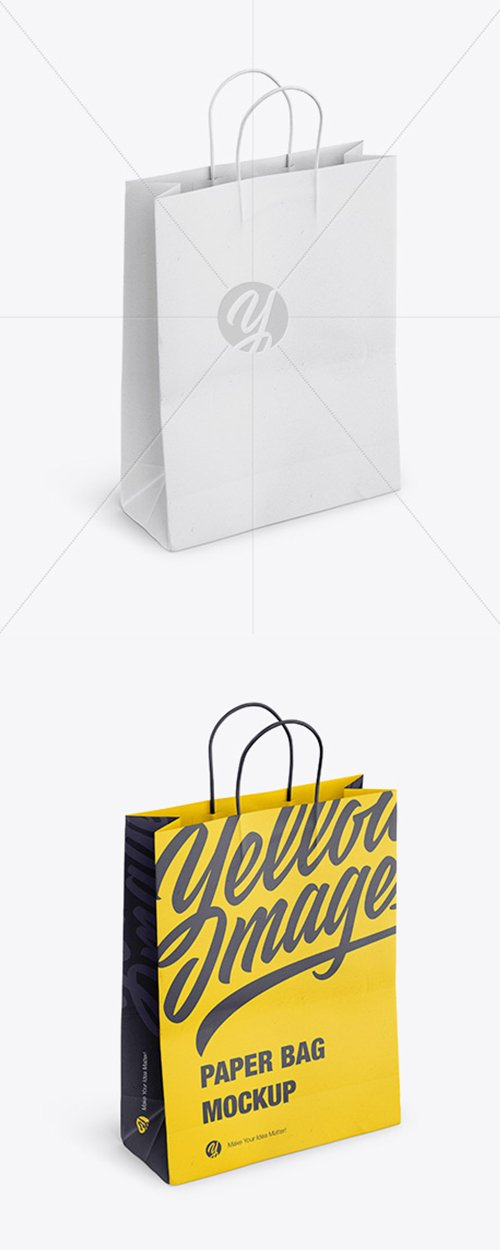 Paper Shopping Bag with Rope Handle Mockup - Halfside View High Angle Shot 41749 TIF