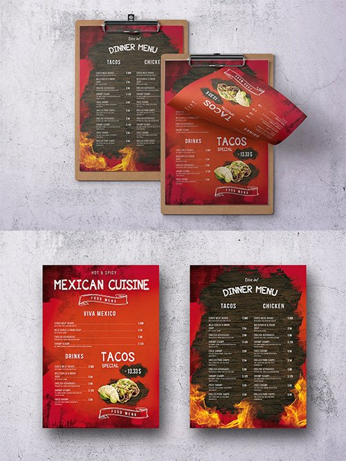 Mexican A4 & US Letter Single Page Food Menu PSD