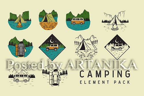 Camping Element Vector Pack