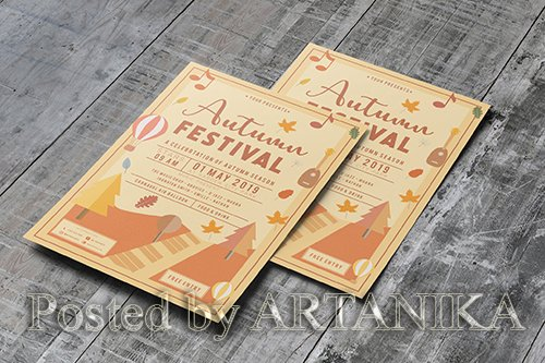 Autumn Festival PSD and AI Flyer