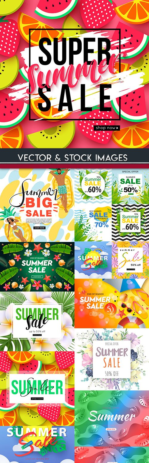 Summer sales and discount holiday banner illustrations 7
