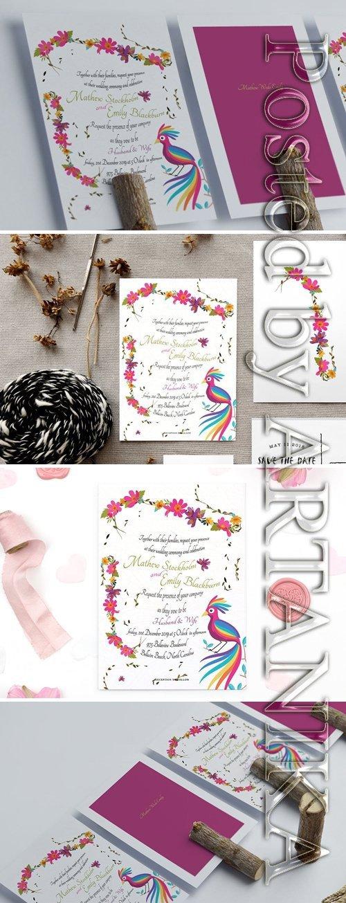 Colourful Floral Wedding Card