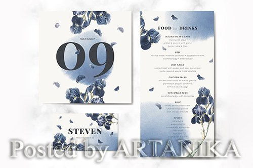 Floral wedding food and drinks card vector